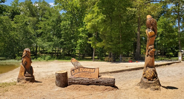 Lakeview Cottages & Marina Features Chainsaw Sculptures